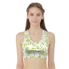 Leaves Pattern Seamless Sports Bra With Border