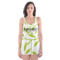 Leaves Pattern Seamless Skater Dress Swimsuit