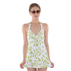 Leaves Pattern Seamless Halter Swimsuit Dress