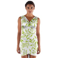 Leaves Pattern Seamless Wrap Front Bodycon Dress