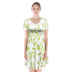 Leaves Pattern Seamless Short Sleeve V Neck Flare Dress