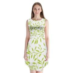 Leaves Pattern Seamless Sleeveless Chiffon Dress