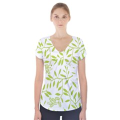 Leaves Pattern Seamless Short Sleeve Front Detail Top