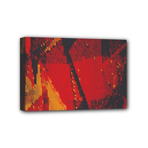 Surface Line Pattern Red Mini Canvas 6  X 4