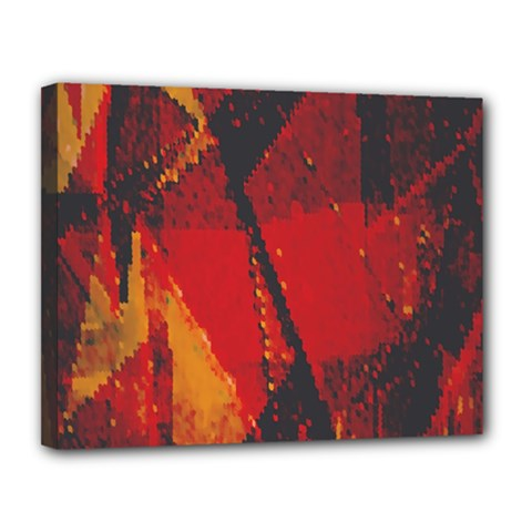 Surface Line Pattern Red Canvas 14  X 11