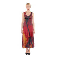 Surface Line Pattern Red Sleeveless Maxi Dress