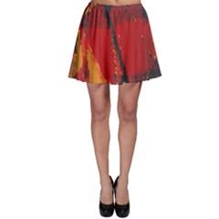 Surface Line Pattern Red Skater Skirt