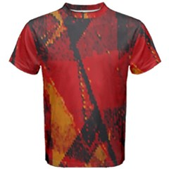 Surface Line Pattern Red Men s Cotton Tee