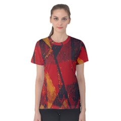 Surface Line Pattern Red Women s Cotton Tee