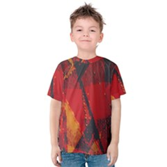 Surface Line Pattern Red Kids  Cotton Tee