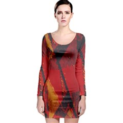 Surface Line Pattern Red Long Sleeve Bodycon Dress