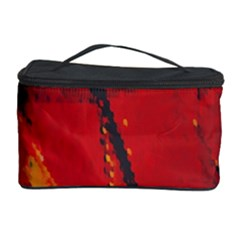 Surface Line Pattern Red Cosmetic Storage Case