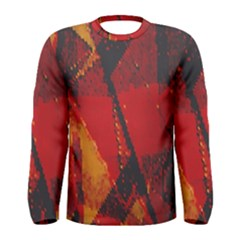 Surface Line Pattern Red Men s Long Sleeve Tee