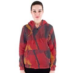 Surface Line Pattern Red Women s Zipper Hoodie