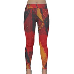 Surface Line Pattern Red Classic Yoga Leggings