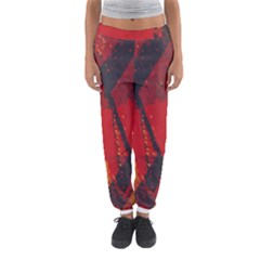 Surface Line Pattern Red Women s Jogger Sweatpants