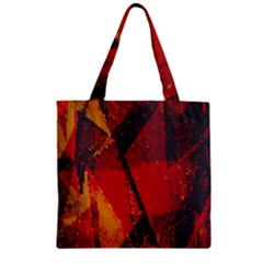 Surface Line Pattern Red Zipper Grocery Tote Bag