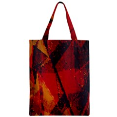 Surface Line Pattern Red Zipper Classic Tote Bag