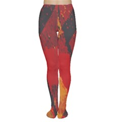 Surface Line Pattern Red Women s Tights