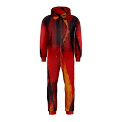 Surface Line Pattern Red Hooded Jumpsuit (Kids)