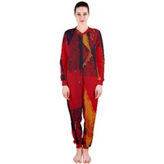 Surface Line Pattern Red OnePiece Jumpsuit (Ladies)