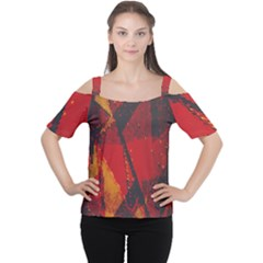 Surface Line Pattern Red Women s Cutout Shoulder Tee