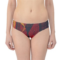 Surface Line Pattern Red Hipster Bikini Bottoms
