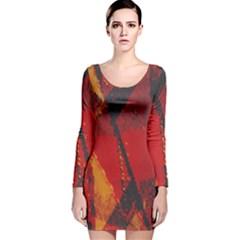 Surface Line Pattern Red Long Sleeve Velvet Bodycon Dress