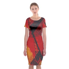Surface Line Pattern Red Classic Short Sleeve Midi Dress