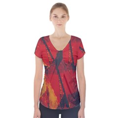 Surface Line Pattern Red Short Sleeve Front Detail Top