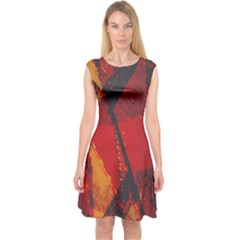 Surface Line Pattern Red Capsleeve Midi Dress