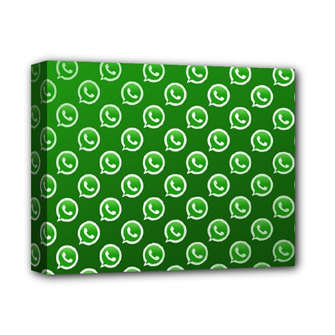 Whatsapp Logo Pattern Deluxe Canvas 14  x 11