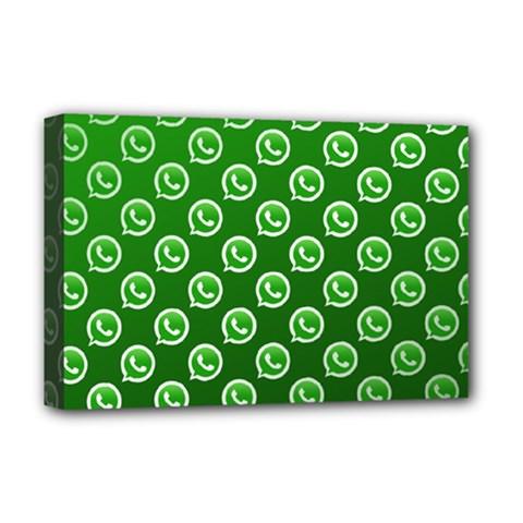 Whatsapp Logo Pattern Deluxe Canvas 18  x 12