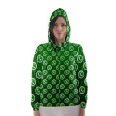Whatsapp Logo Pattern Hooded Wind Breaker (women)