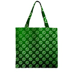 Whatsapp Logo Pattern Zipper Grocery Tote Bag