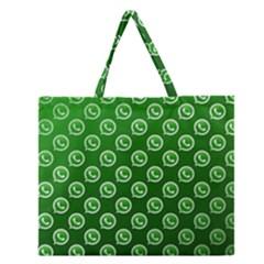 Whatsapp Logo Pattern Zipper Large Tote Bag