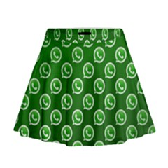 Whatsapp Logo Pattern Mini Flare Skirt