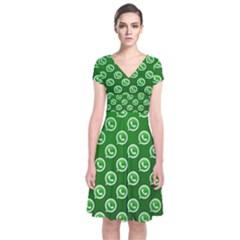 Whatsapp Logo Pattern Short Sleeve Front Wrap Dress