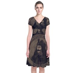 Count Vlad Dracula Short Sleeve Front Wrap Dress