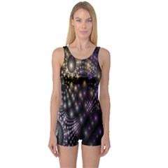 Fractal Patterns Dark Circles One Piece Boyleg Swimsuit