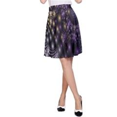 Fractal Patterns Dark Circles A Line Skirt