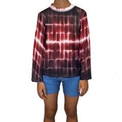 Electric Lines Pattern Kids  Long Sleeve Swimwear
