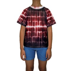 Electric Lines Pattern Kids  Short Sleeve Swimwear