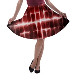 Electric Lines Pattern A-line Skater Skirt