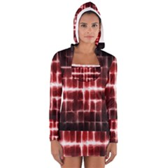 Electric Lines Pattern Women s Long Sleeve Hooded T-shirt