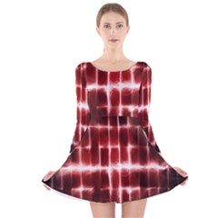 Electric Lines Pattern Long Sleeve Velvet Skater Dress