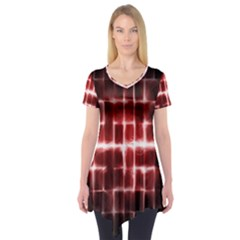 Electric Lines Pattern Short Sleeve Tunic