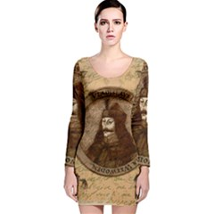 Count Vlad Dracula Long Sleeve Velvet Bodycon Dress