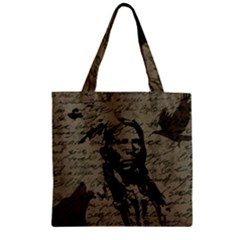 Indian chief Zipper Grocery Tote Bag
