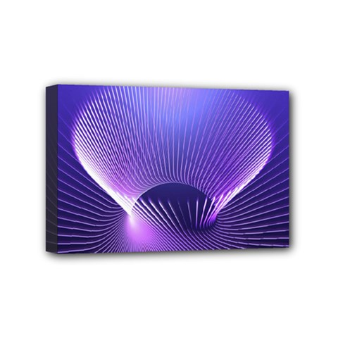 Abstract Fractal 3d Purple Artistic Pattern Line Mini Canvas 6  X 4